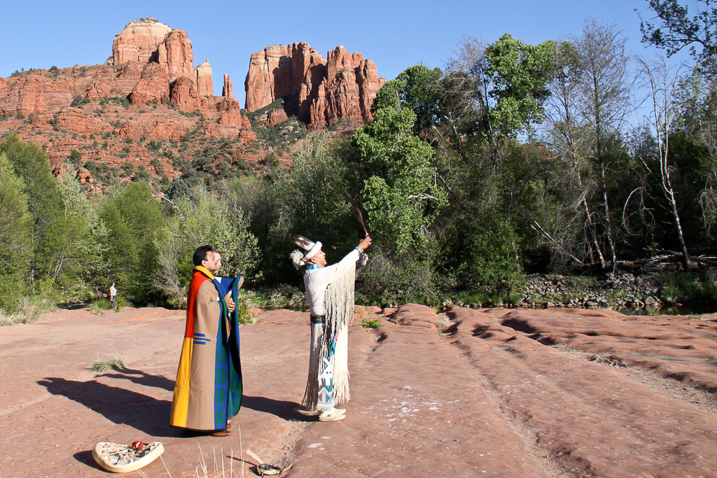 crescent moon ranch native american wedding ceremony Uqualla sedona wedding photo